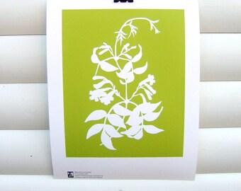 Botanical Art Print 10x8 - Lime Green Bignonia - Modern Botanical Nature Floral Pretty Papercut Design