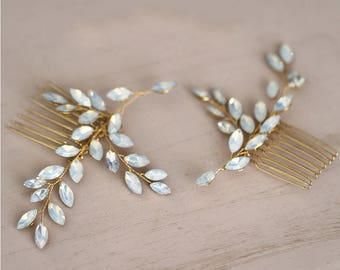 RENATA - Pair of Gold Leaf Wedding Bridal Hair Comb