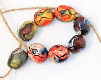 4 pairs of colorful beads, abstract, blue yellow purple, hippy, boho, rustic, enameled, ceramic components for jewelry, pottery, art beads