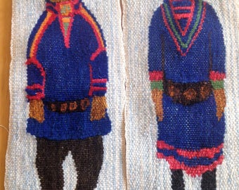 Swedish / Scandinavian two beautiful handmade wall hanging / tapestry with two Sami With traditional costumes Flemish art from 60