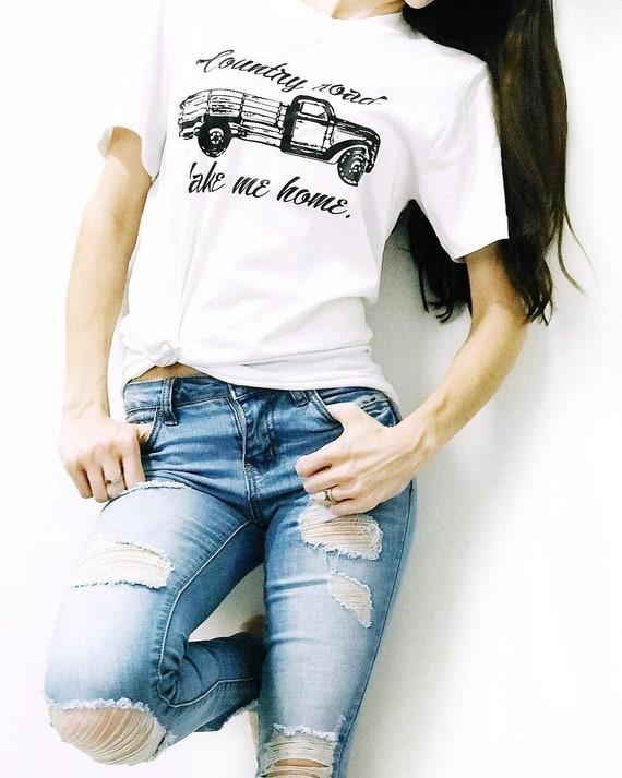 COUNTRY ROAD Take Me Home, Boyfriend Tee, Country Road, Vintage Vibes, Vintage Tee, Vintage Truck, Vintage Tshirt, Country Tee