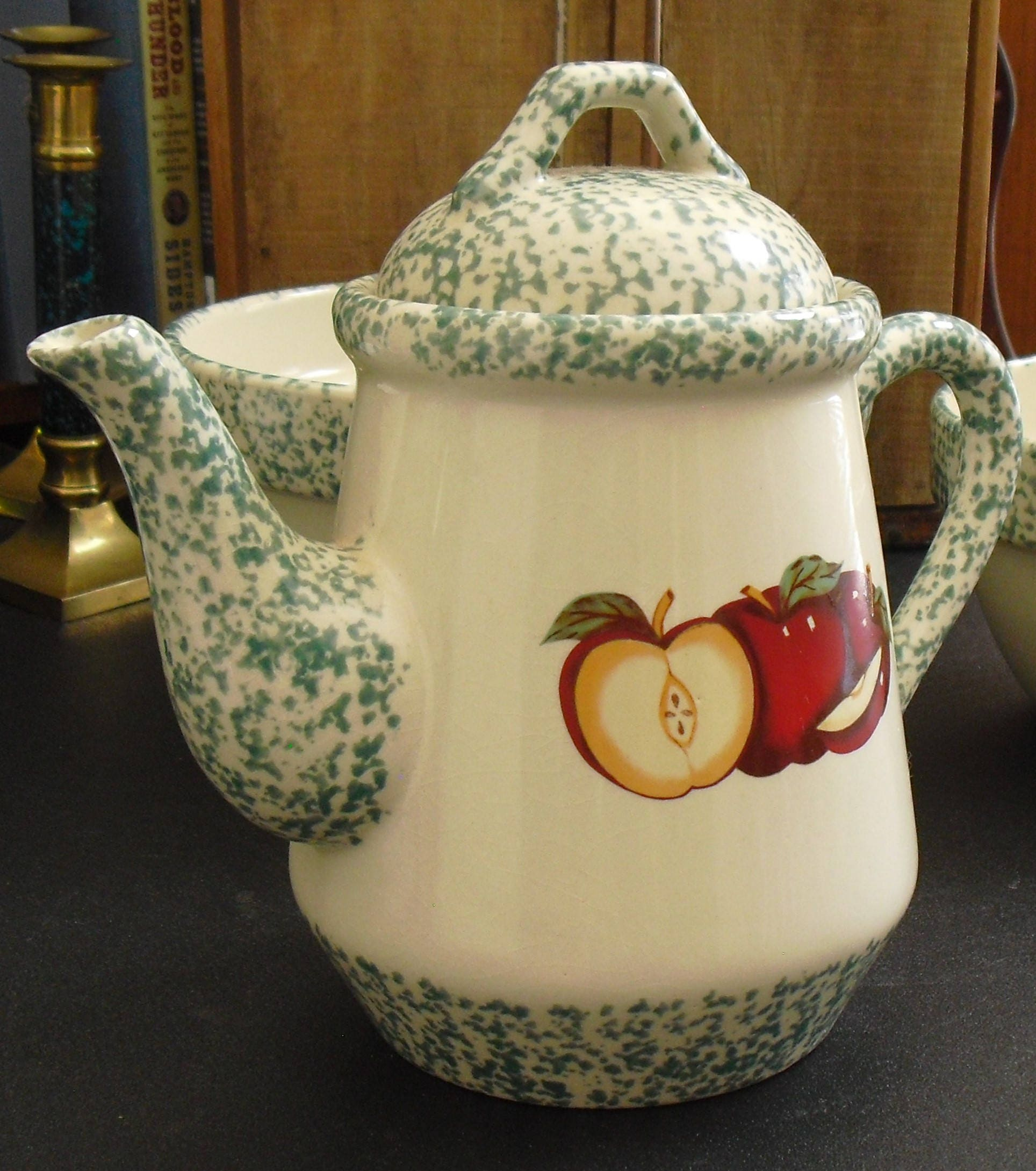 Vintage Stoneware Teapot Apple Green Spongeware Heavy 1995