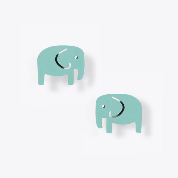 Modern Light Malachite Elephant Earrings