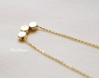 Tiny dot necklace, Triple Dot, Gold dot, Silver dot, Everyday necklace, Bridesmaid gift, Wedding necklace