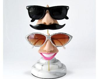Couples nose eyeglass stand, unique wedding gift, sunglasses storage