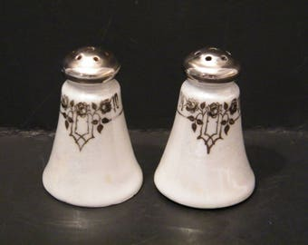 Rare Rosenthal Salt and Pepper Shakers Selb Germany, Vintage 1920s OHME unmarked porcelain in trellis Q pattern, platinum trim, replacement