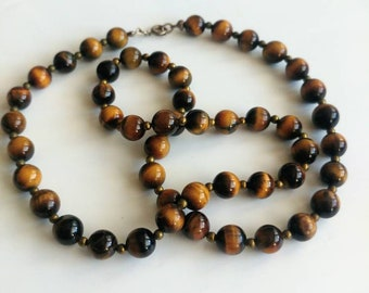 Vintage tiger's eye beaded necklace