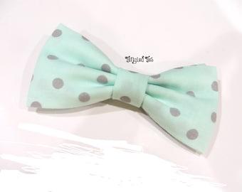Mint BOW TIE with Grey Polka Dots, boys bow tie, mens bow tie, toddler bow tie, mint clip bow tie, mint self-tie bow tie