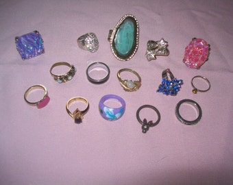 Costume Ring lot, costume jewelry ring, lot of rings, destash ring lot