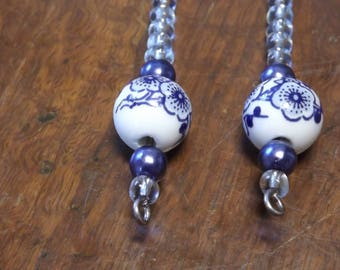Blue and white porcelain drop earrings