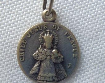 Vintage Medal Child Jesus of Prague  and IHS