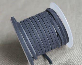 A very dark gray, charcoal gray suede meter, cordon imitation leather - dark grey