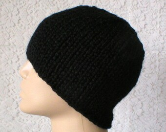 Black beanie hat, skull cap, winter hat, toque, knit hat, black hat, mens womens hat, chemo cap, ski toboggan, black knit hat, biker hiking