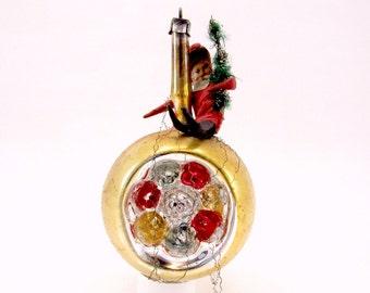 Double Indent Scrap Santa Christmas Ornament German Vintage Glass Reflector Christmas Decoration