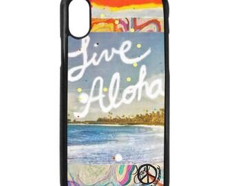 NEW iPhone X Case, Best Seller, Live Aloha, Modern, Surf, Sunset, Hawaii, Aloha, iPhoneX, Beach, Art, black case color