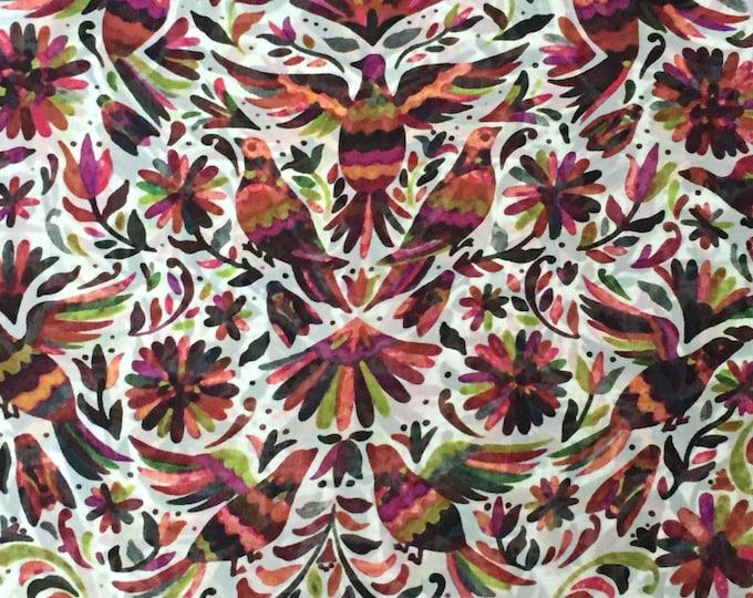Fiesta Birds Print in White/Black/Leaf Green/Magenta - Designer Closeout - Silk Chiffon FABRIC