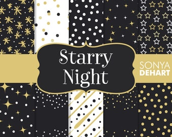 80% OFF SALE Digital Papers Starry Night Black and Gold Stars Confetti DP132