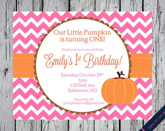 Little Pumpkin Printable Birthday Party Invitation Invite (baby shower, birthday party, party) DIY