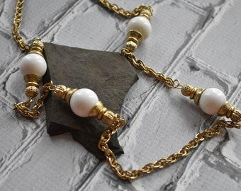 Vintage Gold Chain Necklace- White Beaded Chain Bead Cap Necklace- 80's Style Made in Korea Jewelry
