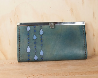 Leather Checkbook Wallet -  Clutch Wallet - Womens Wallet - Rain pattern with modern raindrops in blue, white and evening blue