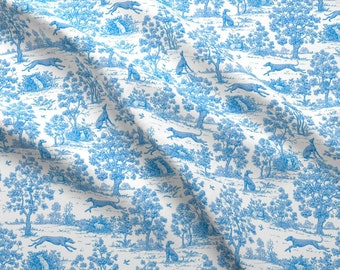Dogs Fabric - Bright Indigo Blue Greyhound Toile ©2010 By Jane Walker By Artbyjanewalker - Dogs Cotton Fabric By The Yard With Spoonflower