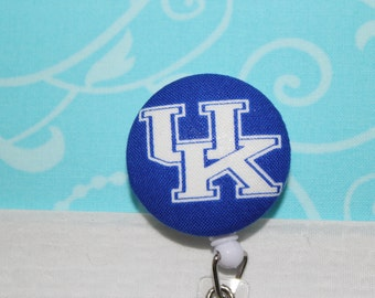 Blue Fabric UK Kentucky Wildcats Retractable ID Name Badge Pull Reel Clip