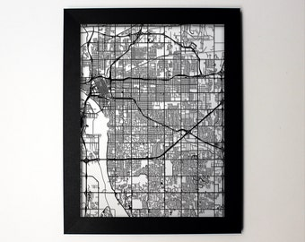 Tulsa Oklahoma Laser Cut Map, Tulsa OK Street Map, Map of Tulsa, Tulsa Oklahoma Wall Art, Wedding gift, Tulsa Decor, Tulsa Gift, Tulsa Print