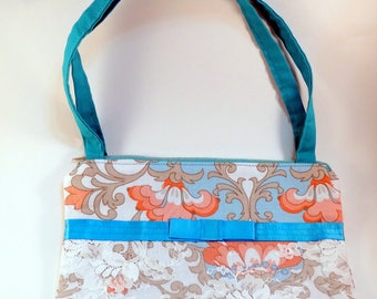 Coral Teal Lace Flower Purse, Eco-Friendly Handmade Purse, Lace Purse, Elegant Purse, Zippered Purse, Women's Accessory, Clutch purse