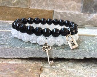 Partner bracelets bracelet set key lock Onyx Berkristall 8mm long distance relationship