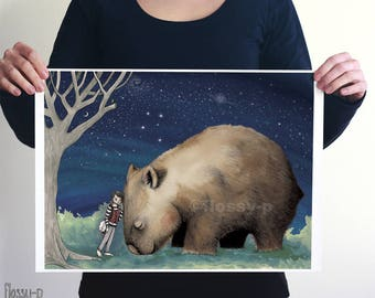 Giant Wombat and Banjo Boy, Large A2 Art Print by flossy-p. Australian animal, gift.