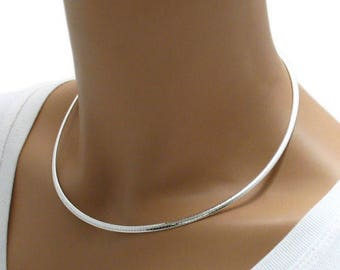 "925 Sterling Silver Domed Omega Necklace - 3 mm - 16""/18""/20"""