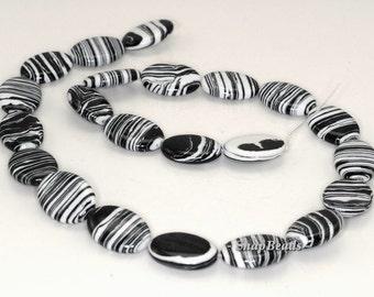 Matrix Turquoise Gemstone Black White Stripe Drum Barrel Rice 12x8mm Loose Beads 16 inch Full Strand (90145171-216)