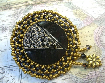 Black Vintage Button Hand Beaded Victorian Brooch Czech Seed And Brass Beads