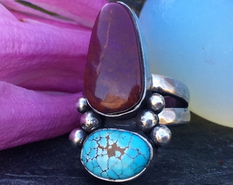 Turquoise Ring, Alunite Ring, Sterling Silver Ring, Size 6.75 Ring