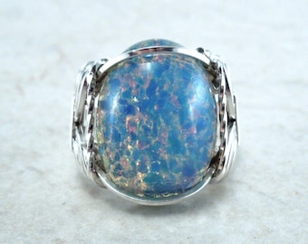 Sterling Silver Blue Opal Glass Cabochon Wire Wrapped Ring