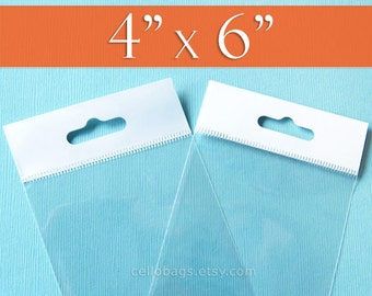"""200 4 x 6"""" Inch HANG TOP Clear Resealable Cello Bags Packaging for Hanging on Display or Peg"""