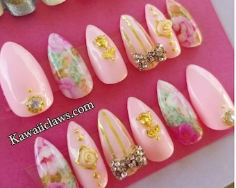 Pink & Gold Floral with Roses Gel Nail Art