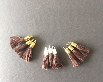 Pompon marron chocolat,fil de coton,calotte méta,30x8mm,lot de 3 Pcs