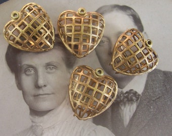 4 Small Caged Heart Charms-Brass-Vintage-Opens