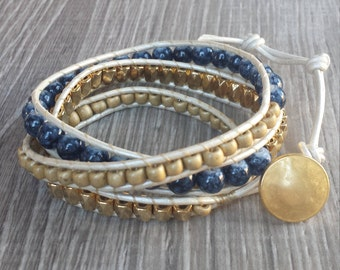 Gold Blue White Leather Beaded Wrap Bracelet