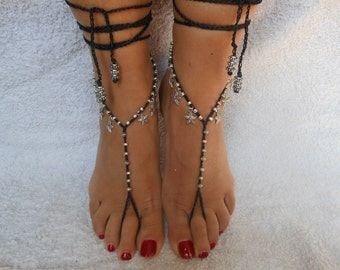 Crochet Barefoot Sandals Beach Wedding  Yoga Shoes Foot Jewelry Black Silver