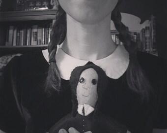 Grayscale Wednesday Addams Doll