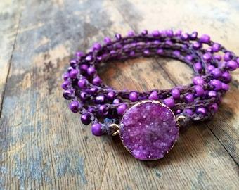 Purpled Versatile Crochet Wrap: Necklace, Bracelet, Belt, Hair Wrap, Anklet, Choker
