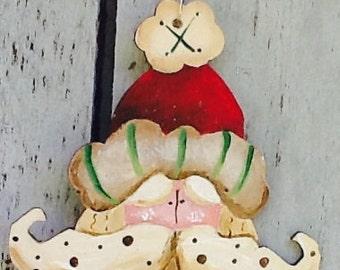 Santa ornament, Santa gift tag, christmas ornament, st. Nicolas ornament, christmas tree ornament, vintage Santa ornament, country santa