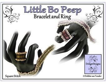 Tila Beading Pattern, Tutorial, Bracelet and Ring - LITTLE BO PEEP