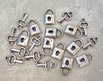 FINAL CLEARANCE -  450 MixNMatch Padlock Key Charms, DeSTASH, Lock Skeleton House Key - Dble Sided Ant. Silver-tone Metalized Plastic Charms