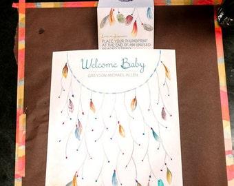 Dreamcatcher Thumbprint Guestbook, Baby Shower Thumbprint Guestbook, Dream Catcher Guestbook, Wedding Shower Decor, Birthday Party Decor