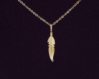 feather necklace goldfilled 14k,necklace sterling silver, necklace feather, necklace leaf