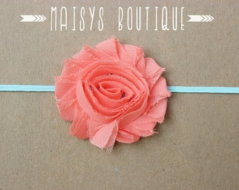 Coral Salmon Aqua Flower Headband/ Newborn Headband/ Baby Headband/ Photo Prop