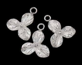 4 of 925 Sterling Silver Flower Charm 13mm. :th1705